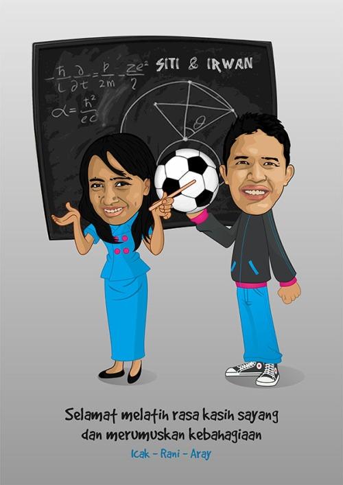 karikatur siti guru matematika dan irwan guru olahraga