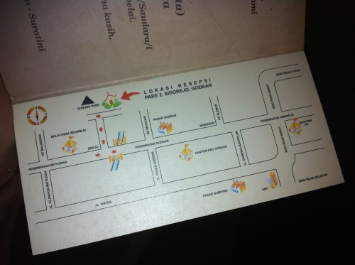 peta resepsi yang dibuat oleh istri saya